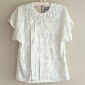 80's Vintage Ivory Deco Blouse by Notations
